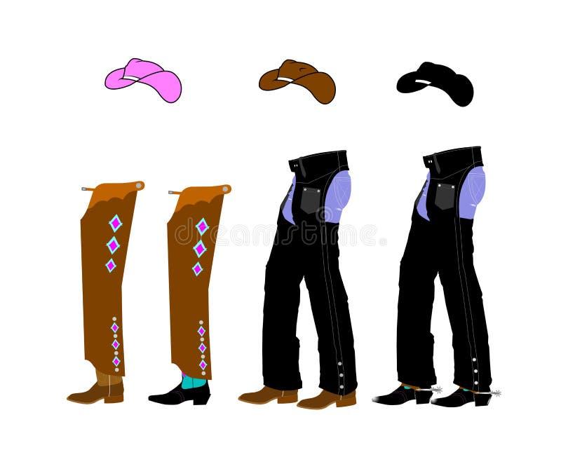 Парни и шпоры ботинок иллюстрация штока
