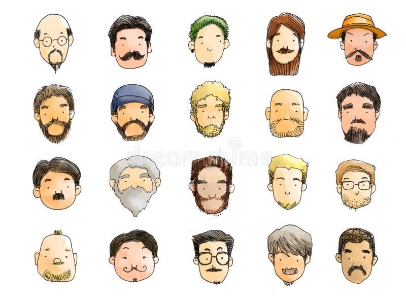 Парни с иллюстрацией бороды, отсутствие бритья ноября бесплатная иллюстрация