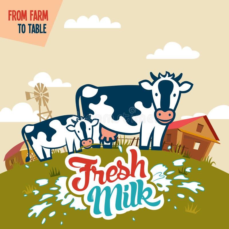 Парное молоко от фермы, который нужно поставить на обсуждение бесплатная иллюстрация