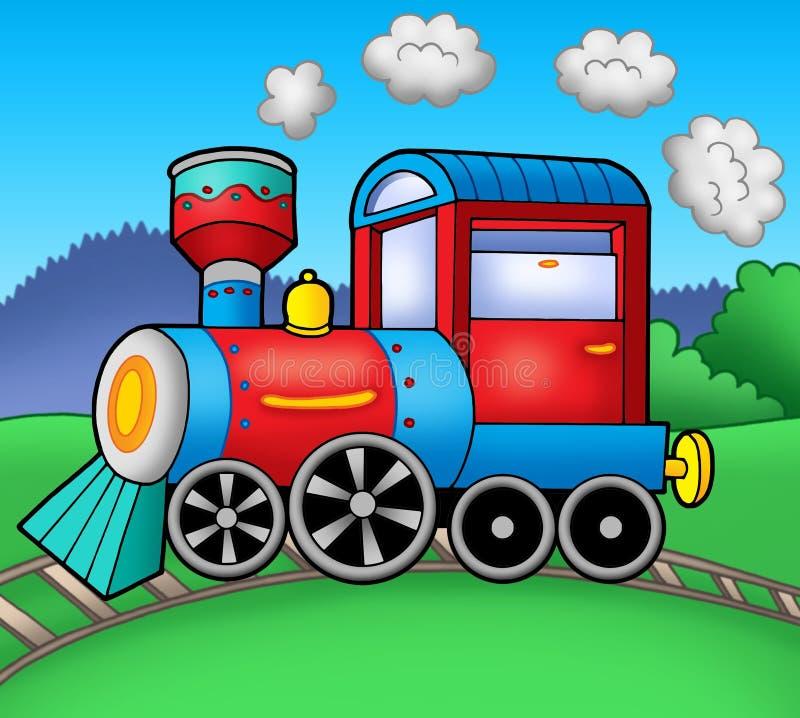 паровоз прокладывает рельсы пар иллюстрация вектора