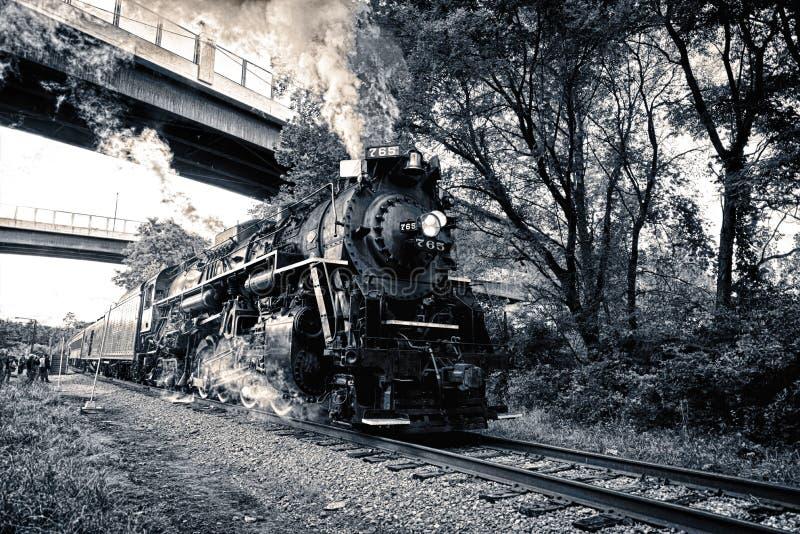 Паровой двигатель локомотива плиты никеля стоковые изображения
