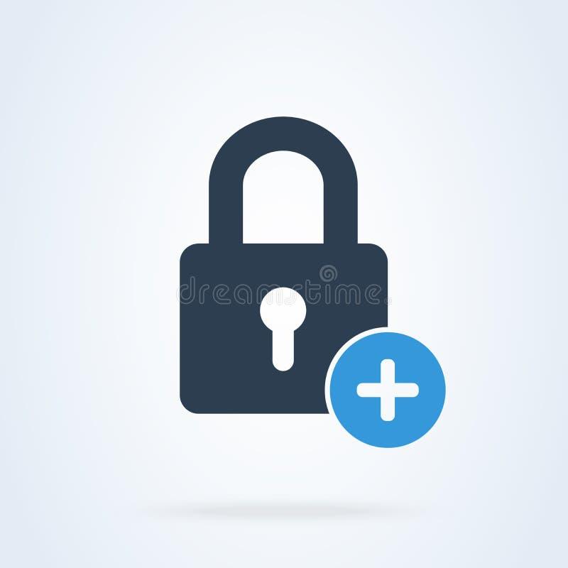 Пароль и безопасность замка добавляют значок вектора предохранения от системы иллюстрация вектора