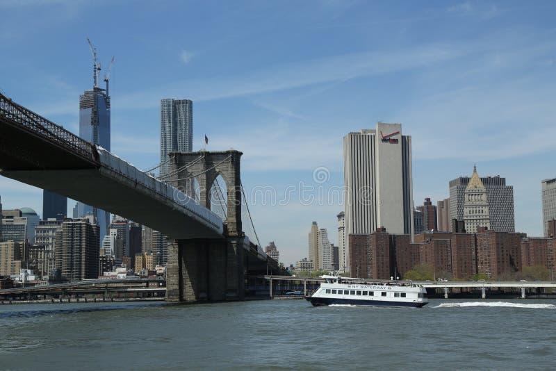 Паром водного пути Нью-Йорка под Бруклинским мостом стоковые изображения rf