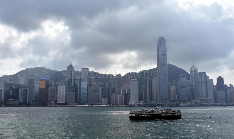 Паром на гавани Виктории в Гонконге стоковое фото rf