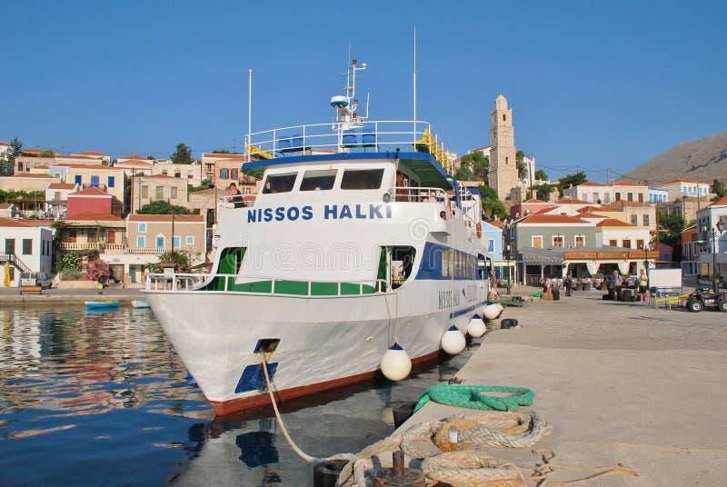 Паром Nissos Halki, остров Halki стоковое фото rf