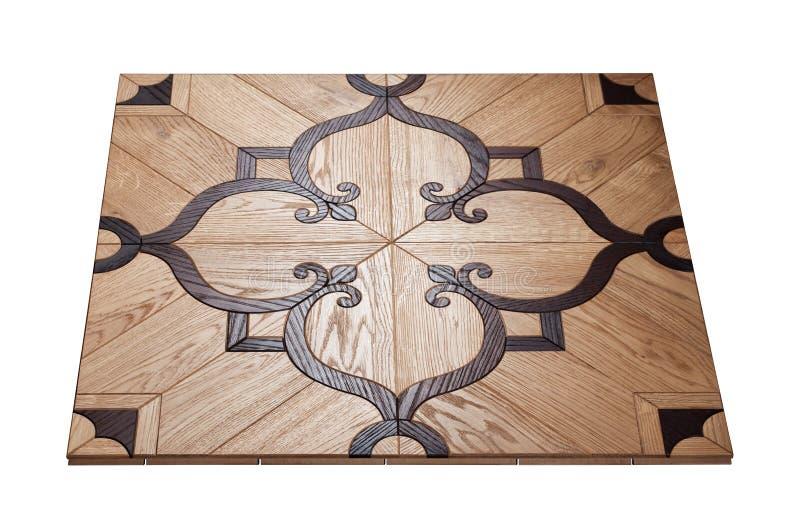 Партер элиты модульный Естественный деревянный настил с роскошными текстурой и картиной Равновеликий взгляд на белой изолированно стоковые фото