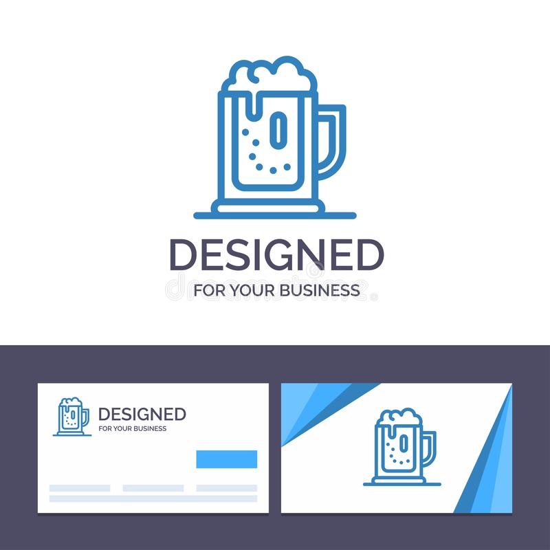 Партия алкоголя творческого шаблона визитной карточки и логотипа, пиво, празднует, выпивает, раздражает иллюстрацию вектора бесплатная иллюстрация