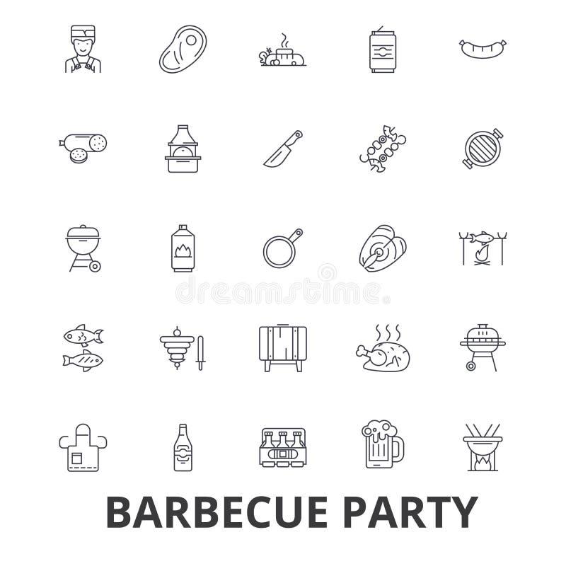 Партия барбекю, гриль, приём гостей в саду, мясо, пикник, еда барбекю, рыба, линия значки пива Editable ходы Плоский дизайн бесплатная иллюстрация
