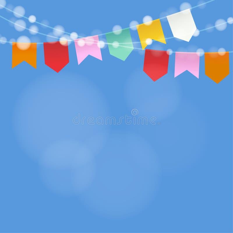 Партия в июне бразильянина Festa Junina Строка светов, флагов партии Украшение партии лета Праздничная запачканная предпосылка иллюстрация штока