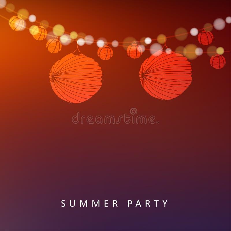 Партия в июне лета или бразильянина, предпосылка с гирляндой светов и бумажные фонарики бесплатная иллюстрация