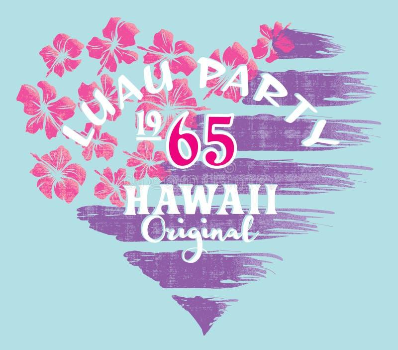 Партия Гавайские островы Luau с предпосылкой американского флага гибискуса иллюстрация штока