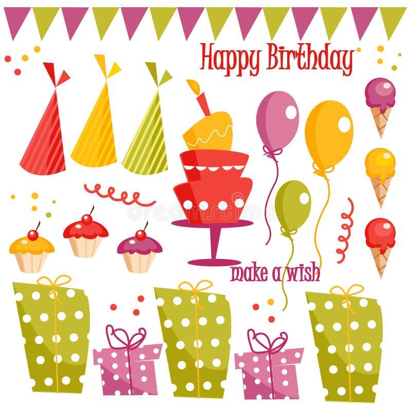 партия графика элементов дня рождения иллюстрация вектора