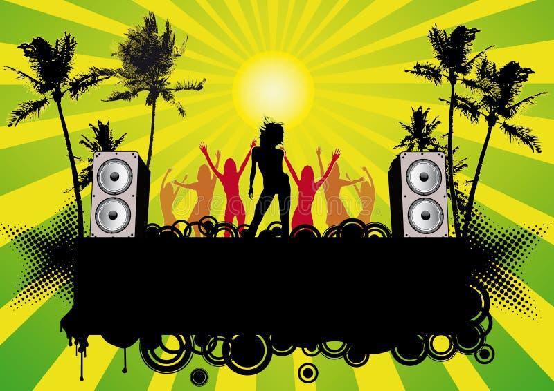 партия девушок рогульки диско танцы пляжа бесплатная иллюстрация