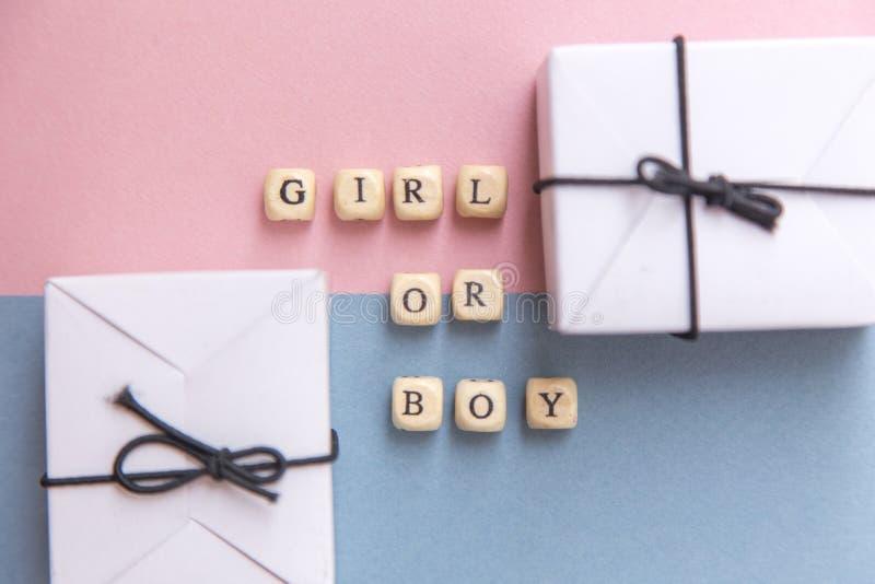 партия детского душа Определение рода маленькая девочка или мальчик Взгляд сверху плана в минималистичном стиле на пинке и голубо стоковые изображения rf
