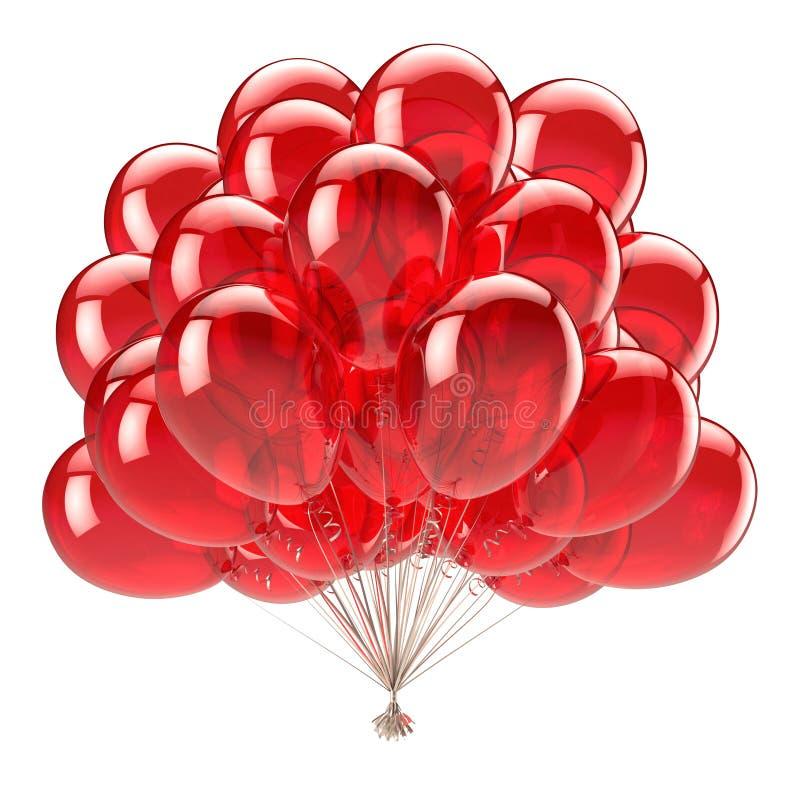 Партия дня рождения красная раздувает пук с днем рождения украшение лоснистое бесплатная иллюстрация