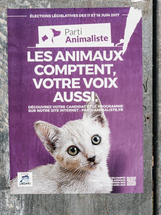Партия животного выборов в законодательные органы плакатов французская стоковые фото