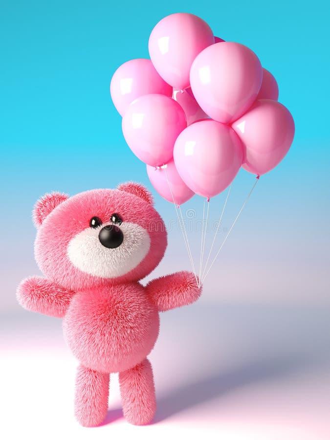 Партия запомнила розовую пушистую плюшевый мишку с розовыми воздушными шарами торжества, иллюстрацию 3d бесплатная иллюстрация