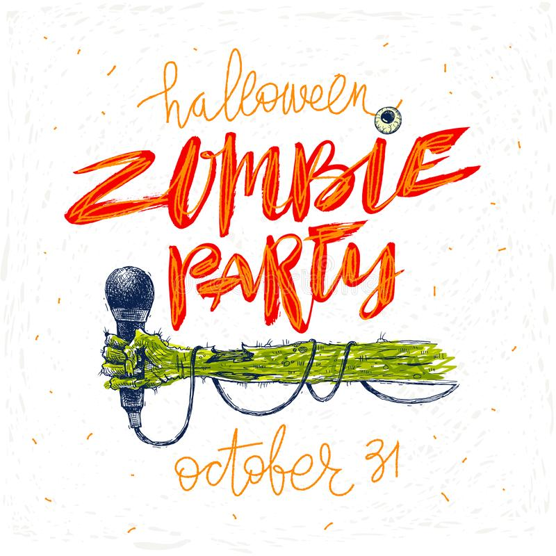 Партия зомби - иллюстрация Поздравительная открытка, плакат или приглашение хеллоуина с иллюстрацией и каллиграфией нарисованными иллюстрация вектора