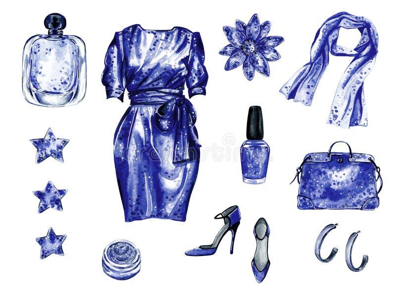 Партия иллюстрации моды акварели руки вычерченная или голубой набор даты бесплатная иллюстрация