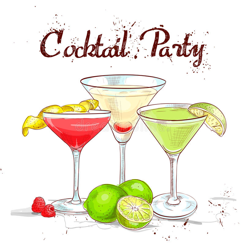 Партия коктеиля коктеиля Unforgettables установленная иллюстрация штока