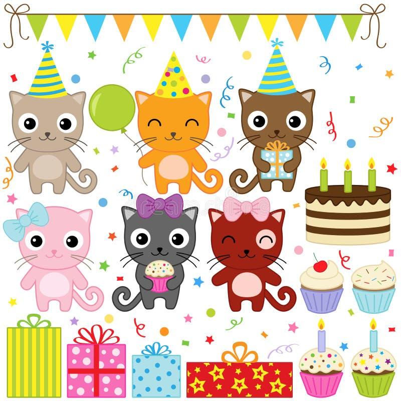 партия котов дня рождения иллюстрация штока