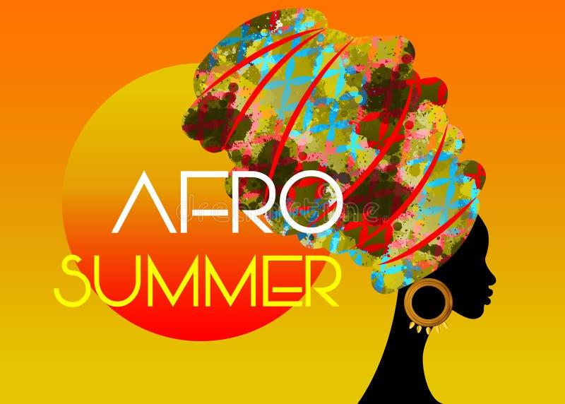 Партия лета Афро, женщина черного африканца главная с красочным тюрбаном, вектором изолированным на предпосылке захода солнца бесплатная иллюстрация