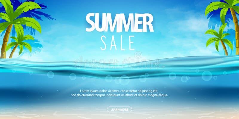 Партия моря лета, плакаты продажи Иллюстрация вектора с глубокой подводной сценой океана Предпосылка с реалистическими облаками иллюстрация штока