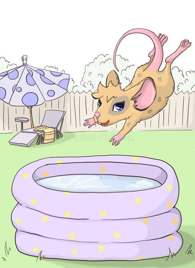 Партия мыши Мышь скачет в раздувной бассейн иллюстрация штока