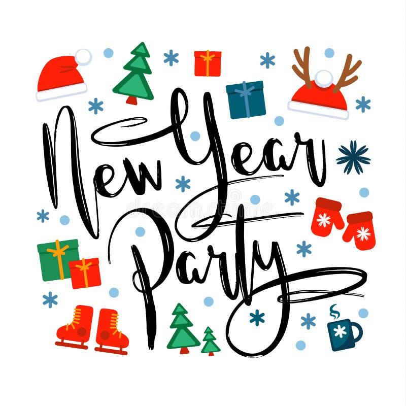Партия Нового Года, надпись и значки и символы рождества на белой предпосылке Иллюстрация вектора, большой дизайн иллюстрация вектора