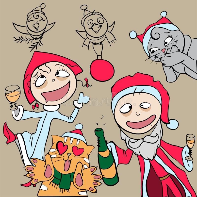 Партия Новый Год Человек и женщина одетые как Санта Клаус имея потеху иллюстрация вектора