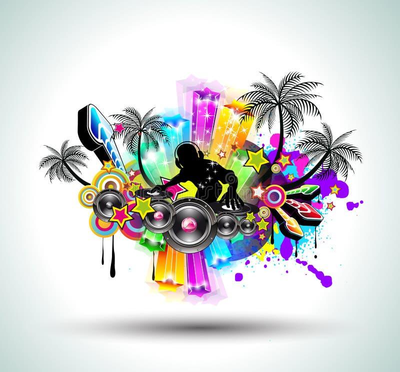 партия нот рогульки диско тропическая бесплатная иллюстрация