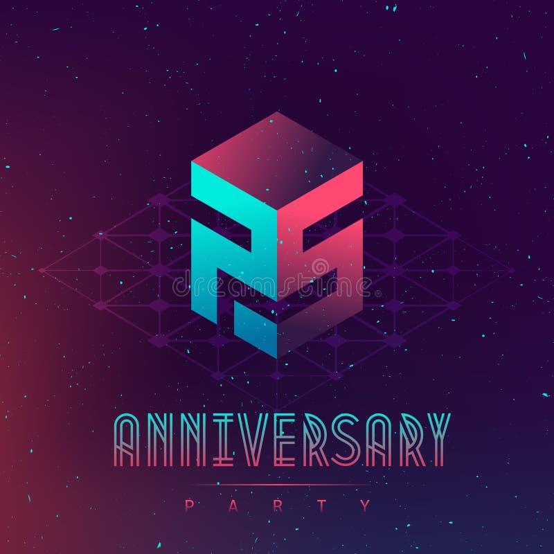 Партия ночи годовщины - фестиваль электронной музыки и spac electro иллюстрация штока
