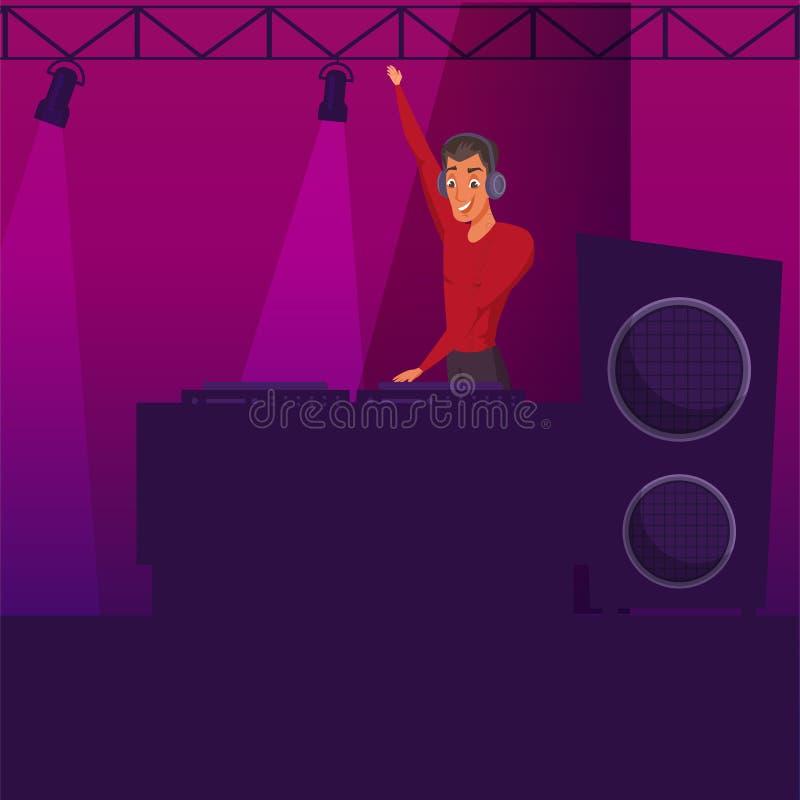 Партия ночного клуба, иллюстрация цвета диско плоская иллюстрация вектора