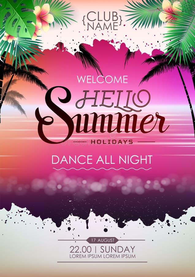 Партия пляжа коктеиля плаката диско лета Летние отпуска плаката литерности здравствуйте! бесплатная иллюстрация