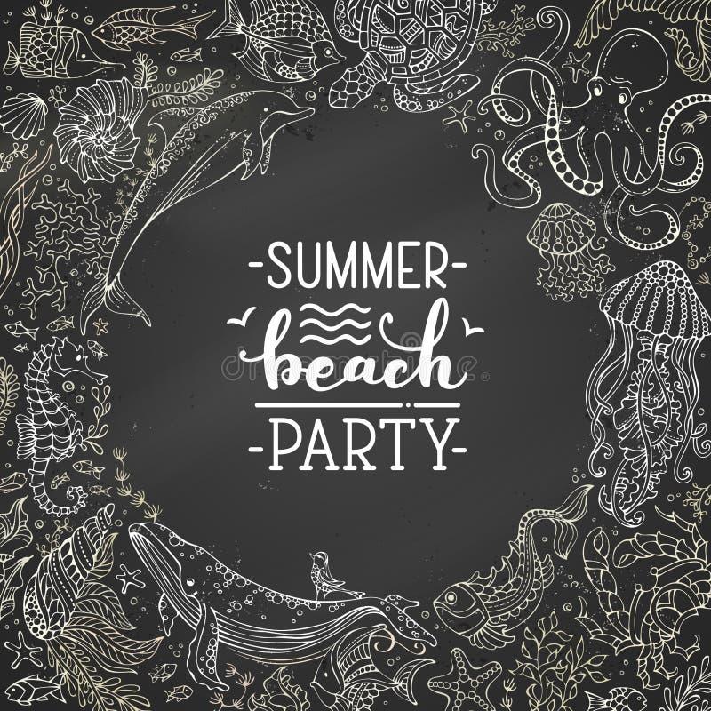 Партия пляжа лета Рукописная литерность щетки мела иллюстрация вектора