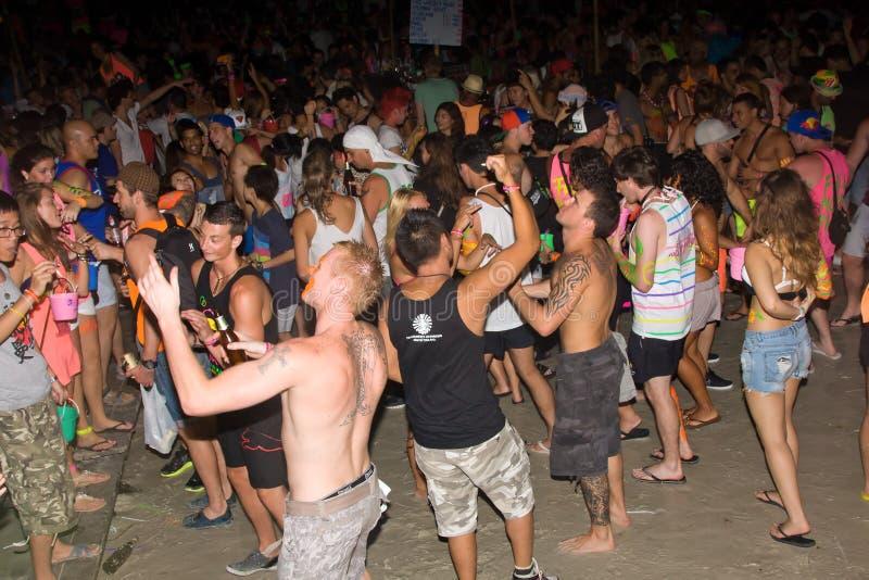 партия полнолуния пляжа phangan стоковые фото
