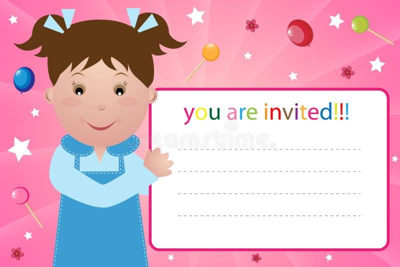 партия приглашения девушки карточки иллюстрация вектора