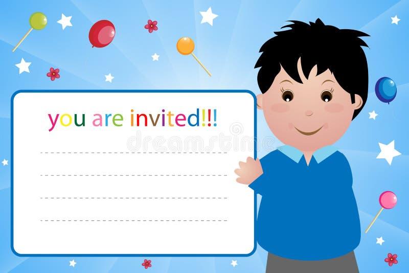 партия приглашения карточки мальчика иллюстрация вектора