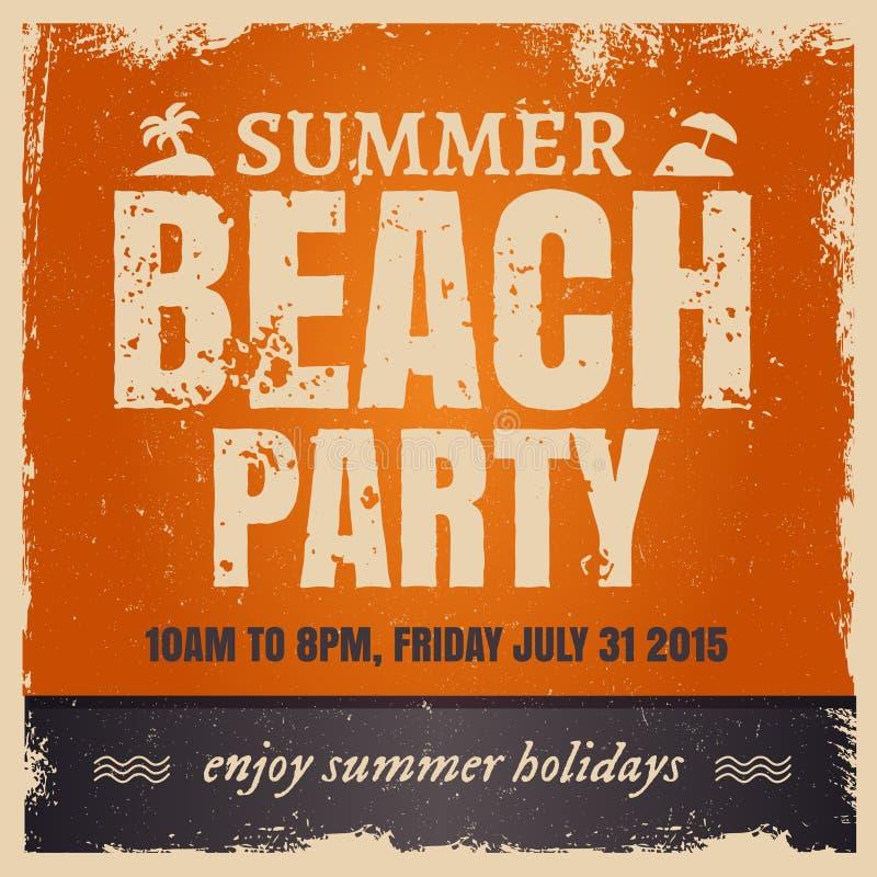 Партия пляжа лета в ретро горячем стиле с апельсином иллюстрация вектора