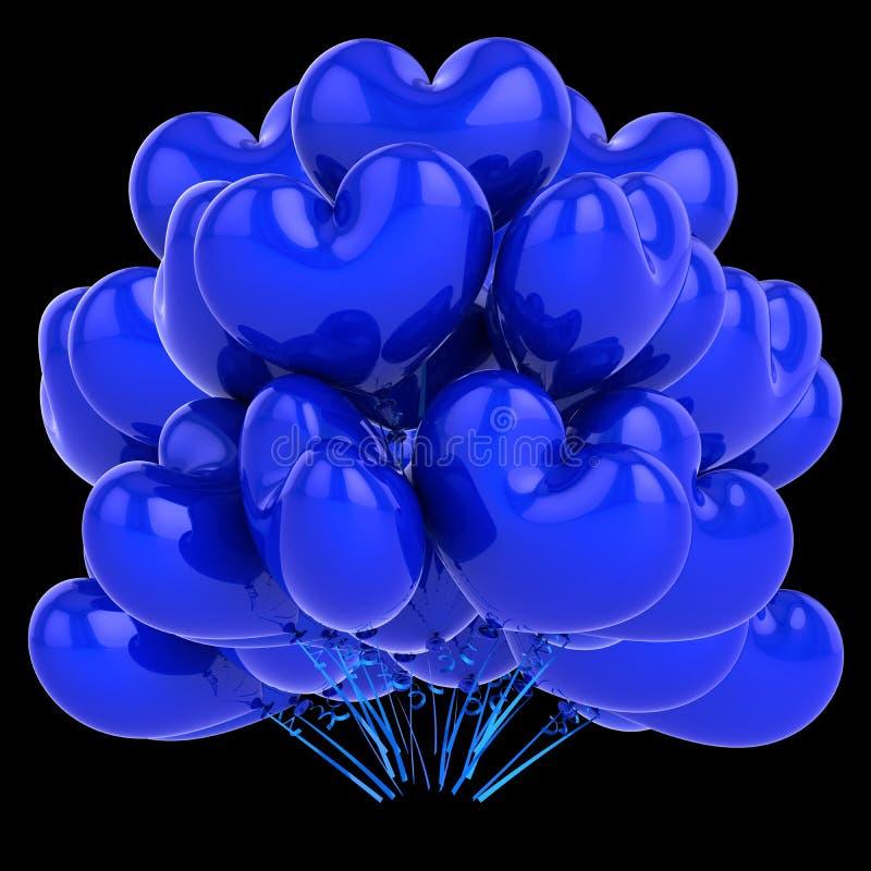 Партия раздувает голубое сформированное сердце пук воздушного шара гелия влюбленности бесплатная иллюстрация