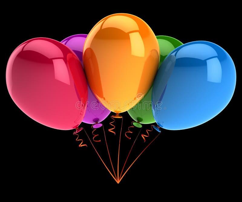 Партия раздувает 5 5 красочных день рождения, празднует, годовщина иллюстрация штока