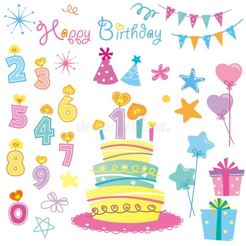 Партия свечек дня рождения иллюстрация вектора