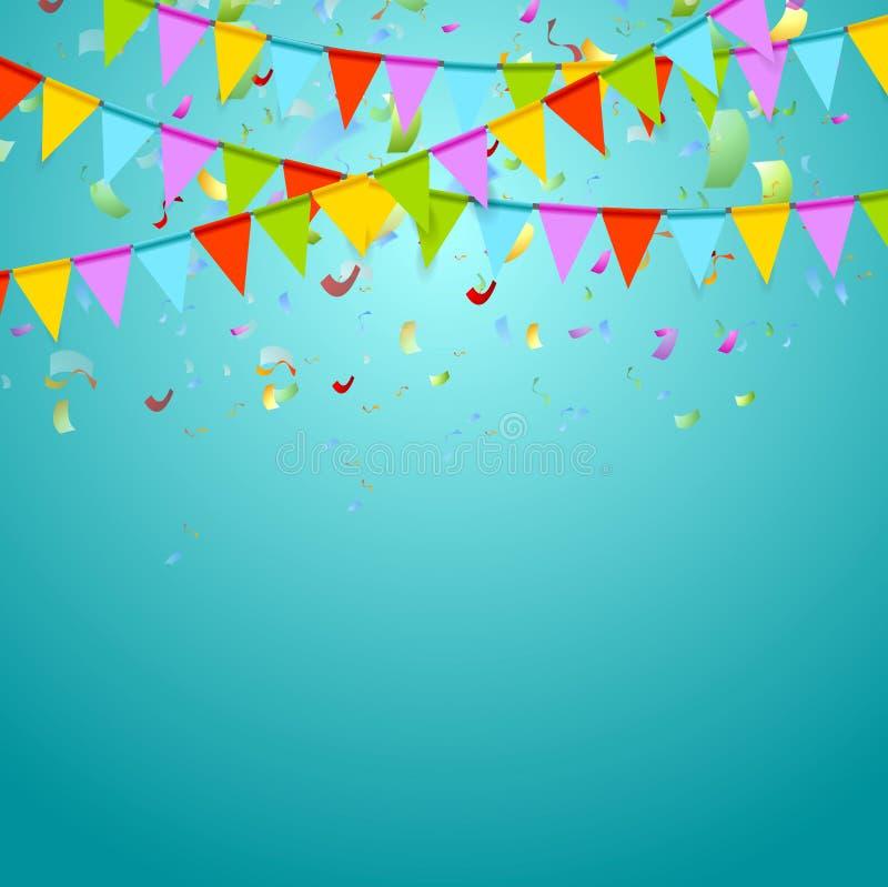 Партия сигнализирует красочное празднует абстрактную предпосылку иллюстрация вектора