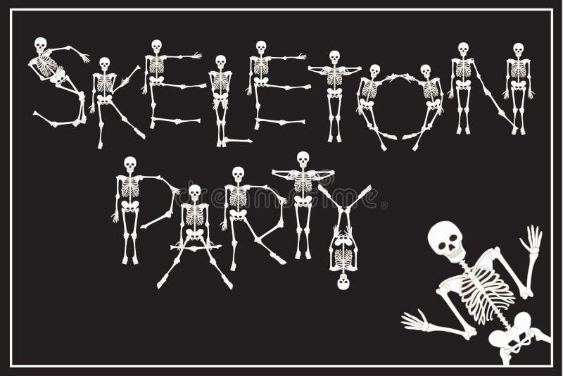 Партия скелета литерности с скелетами шрифтом танцев, комплектом позволила иллюстрация штока