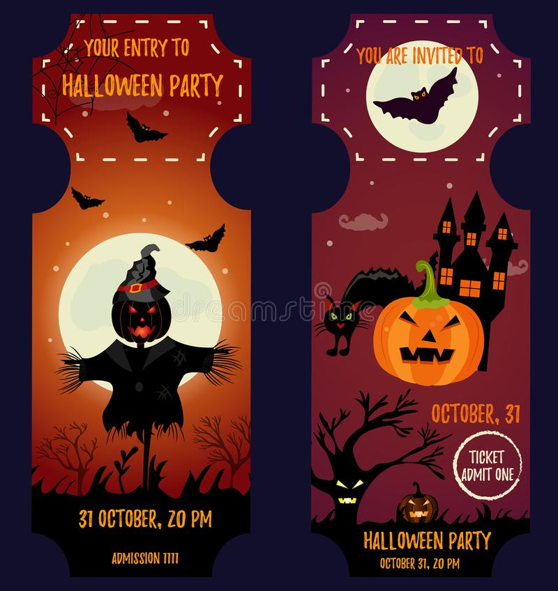 Партия хеллоуина билета Шаблон приглашения Предпосылка хеллоуина с страшным домом, луной, чучелом, тыквой устрашения, котом и лет иллюстрация штока