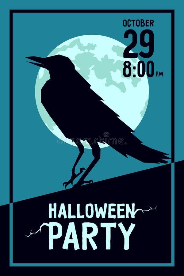 Партия хеллоуина ворона иллюстрация вектора