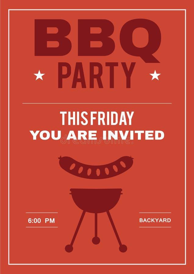 Партия BBQ приглашает плакат карточки приглашения стоковое изображение rf