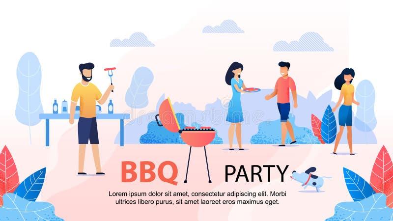 Партия BBQ со знаменем друзей мотивационным плоским иллюстрация штока