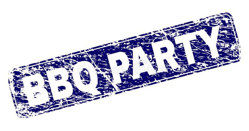 ПАРТИЯ BBQ Grunge обрамила округленную печать прямоугольника бесплатная иллюстрация
