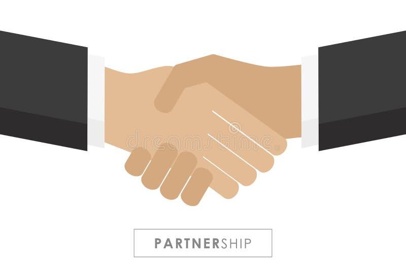 Партнерство между рукопожатием 2 бизнесменов бесплатная иллюстрация